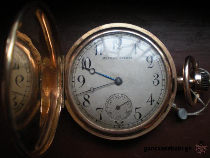 იყიდება შვეიცარული ანტიკვარული ოქროს ჯიბის საათი