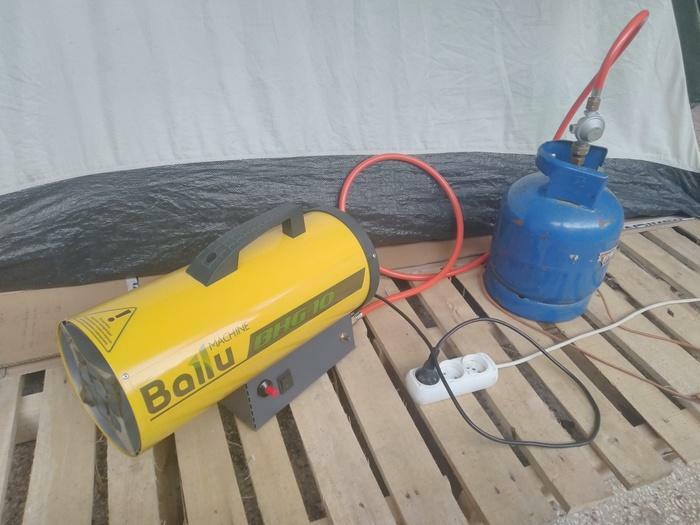 Ballu BHG-10 გაზის გამათბობელი ვენტიღატორით სამრეწველო შენობ