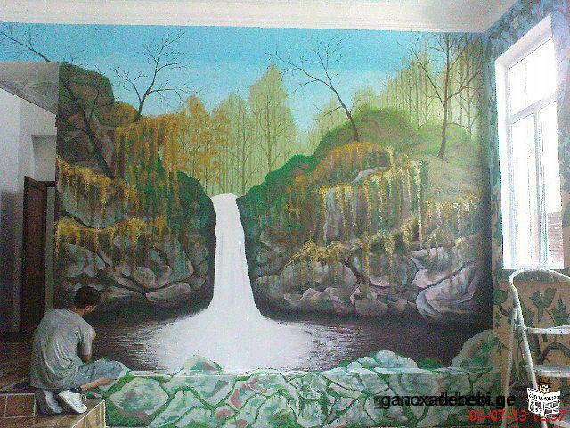 роспись стен.,барельеф.,декорирэванние стен